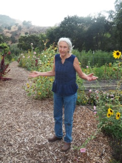 Diane Dovholuk in the garden at Wente Vineyards discussing the produce